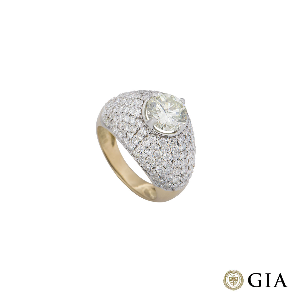 Yellow Gold Round Brilliant Cut Diamond Bombe Ring 1.67ct